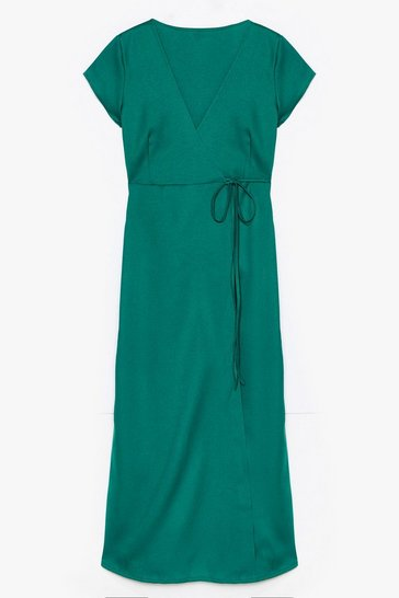 Green Let's Wrap This Up Plus Maxi Dress