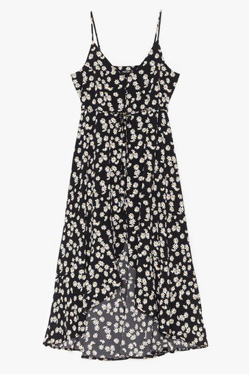 Black I Love You Daisy Plus Midi Dress