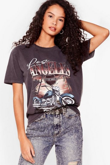 Grey City of Angels Motorcycle Graphic T-Shirt
