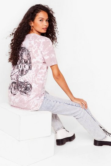 Pink Talk to the Palm Tie Dye Graphic Back Tee