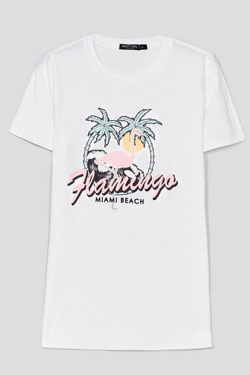 White Keep Palm Miami Beach Graphic Tee