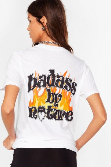 White Badass By Nature Relaxed Graphic Tee