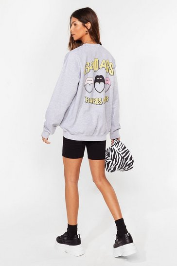 Grey Badass Babes Club Relaxed Graphic Sweatshirt