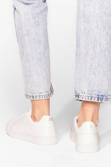 White Time to Mouth Off Faux Leather Sneakers