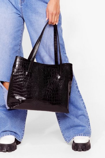 Black WANT A Day Thing Croc Tote Bag