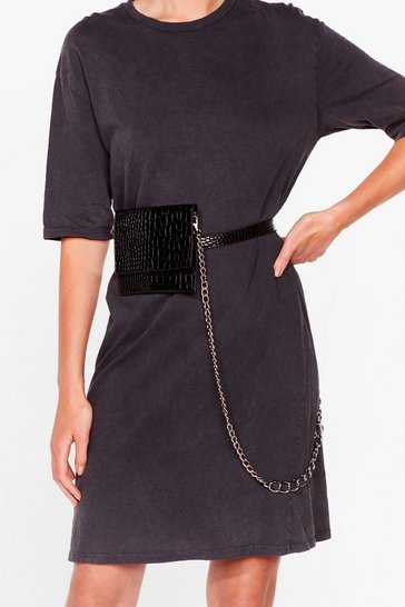 Black WANT Bag on It Chain Belt Bag