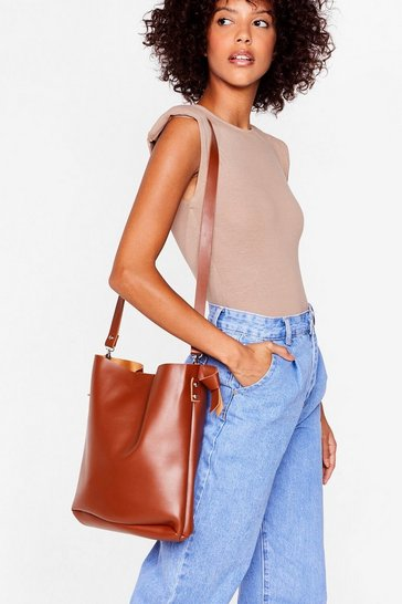 Tan WANT Oh Tote-lly Faux Leather Bag