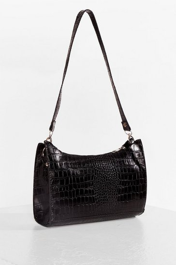 Black WANT Patent Croc Zip Shoulder Bag