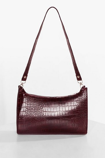 Burgundy WANT Patent Croc Zip Shoulder Bag