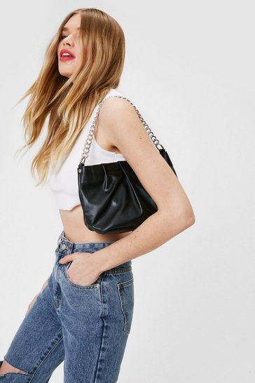 Black WANT When Two Minds Pleat Slouch Bag