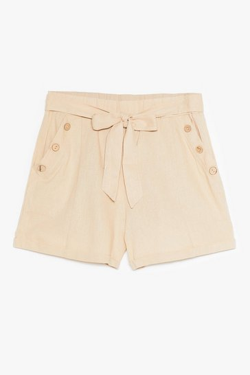 Beige Get Button With It High-Waisted Belted Shorts