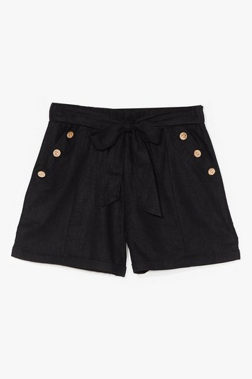 Black Get Button With It High-Waisted Belted Shorts