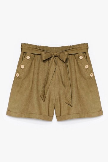Khaki Get Button With It High-Waisted Belted Shorts