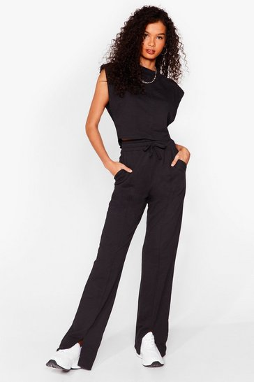 Ensemble top sans manches & pantalon fendu Combo gagnant, Black