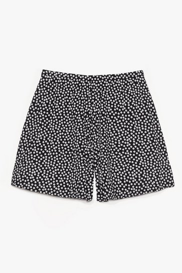 Black Oopsy Daisy Floral High-Waisted Shorts