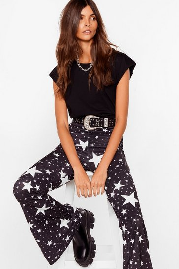 Black Stop Star-ing High-Waisted Flare Pants
