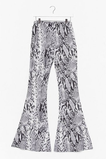 Grey Snake Tracks High-Waisted Flare Pants