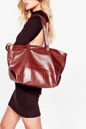 Chocolate WANT Croc on Faux Leather Tote Bag