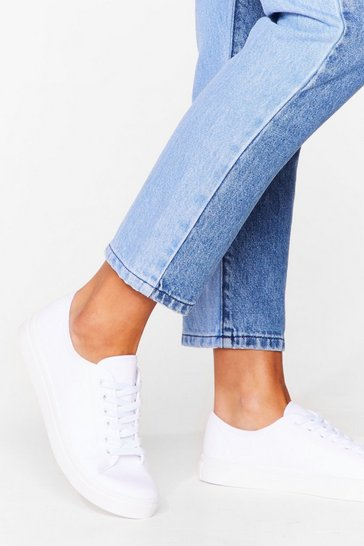 Shake That Canv-ass Lace-Up Sneakers, White