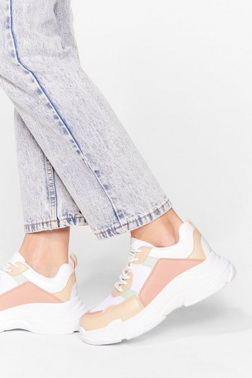 Beige On the Run Lace-Up Chunky Sneakers