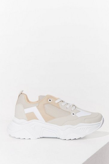 Beige Two Tone It Down Faux Suede Chunky Trainers