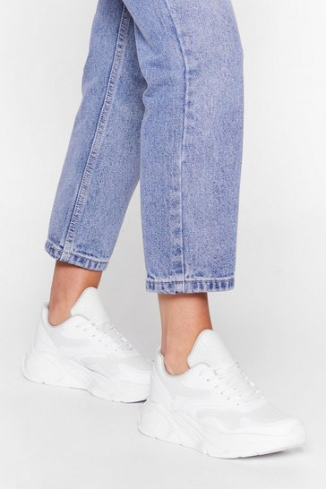 White Mesh Kick It Chunky Trainers
