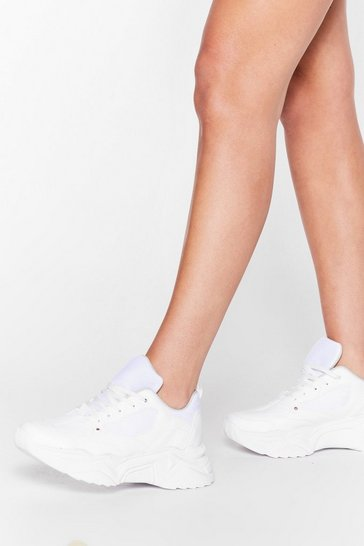 White Can't Walk Away Faux Leather Chunky Sneakers