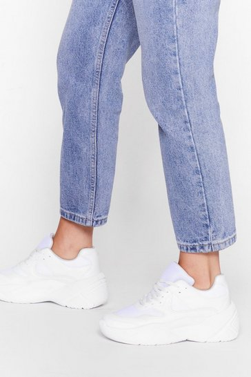 White Follow Our Lead Faux Leather Chunky Trainers