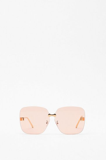 Nude Attention Please Frameless Square Sunglasses