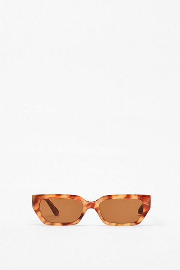Natural Tortoiseshell Slim Rectangle Frame Sunglasses