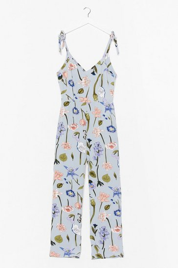 Blue When Tulips Meet Relaxed Floral Jumpsuit