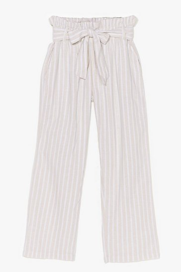 Stone Strictly Business Paperbag Stripe Pants