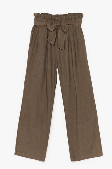 Khaki Tie Your Side Paperbag Cropped Pants
