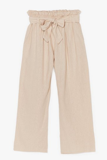 Stone Tie Your Side Paperbag Cropped Pants