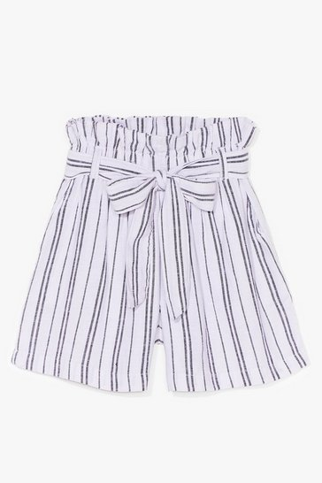 Blue Strictly Business Paperbag Stripe Shorts