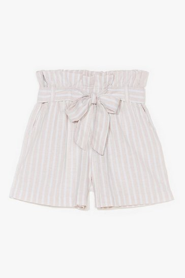 Stone Strictly Business Paperbag Stripe Shorts