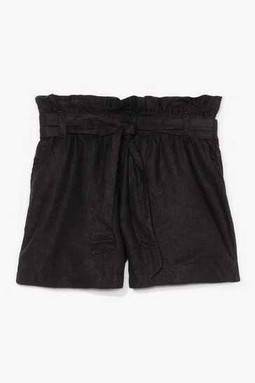 Black Belt One Yet High-Waisted Linen Shorts