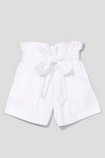 White Belt One Yet High-Waisted Linen Shorts