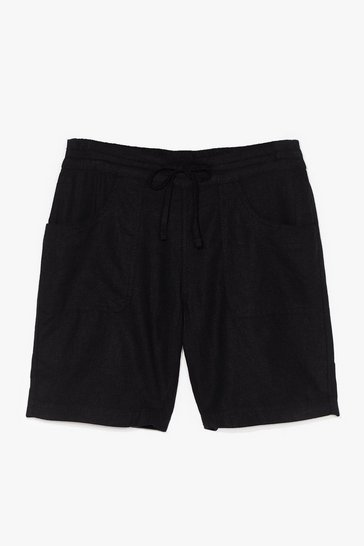 Black You're the Real Linen Here Longline Shorts