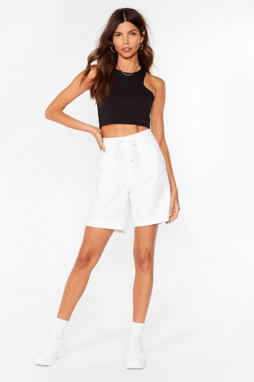 White You're the Real Linen Here Longline Shorts