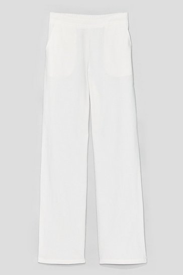 White Lay It On the Linen Wide-Leg Pants