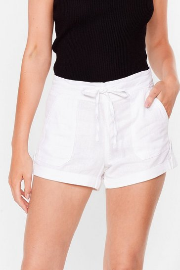 White Truly Elastic for You Mid-Rise Shorts