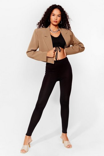 Black Meant to Be Together Ruched Top and Leggings Set