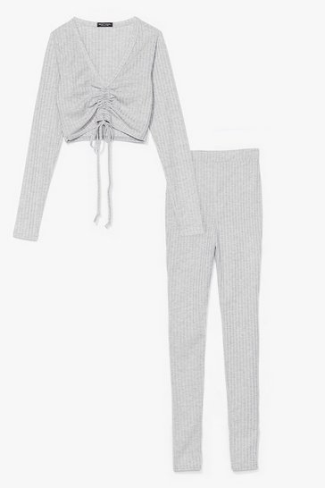 Grey Meant to Be Together Ruched Top and Leggings Set