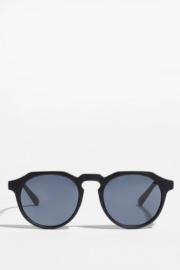 Black You Spin Me Right Round Angular Sunglasses