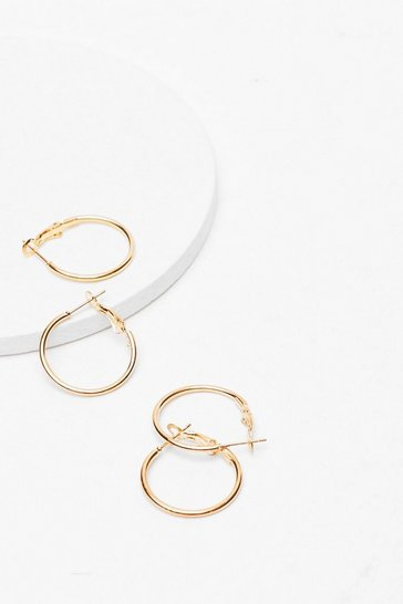 Gold Hoop Earings Set