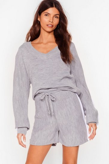 Grey Knit's Your Choice Sweater and Shorts Set