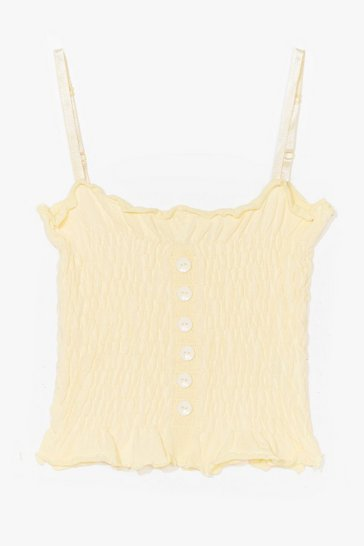Lemon Wanna Get Shirred Button Cami Top