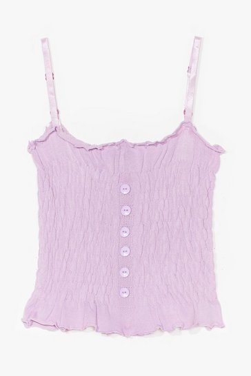 Wanna Get Shirred Button Cami Top, Lilac