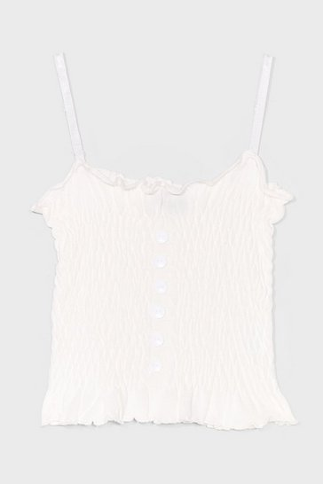 White Wanna Get Shirred Button Cami Top